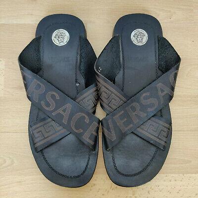 VERSACE Medusa Brown Leather Palazzo Pool Sliders Sandals Flip Flop 42 UK 8.5