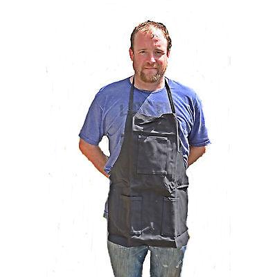 Hawk Ad015b - Denim Black 3 Pocket Bib Apron Metal Wood Working Barbecuing