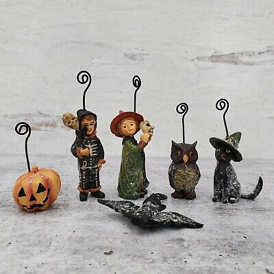 Bethany Lowe Vintage Halloween Spooktacular Ornament Set Witch Owl Cat