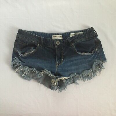 Extreme Booty Shorts (Bullhead Womens Size 7 Dark Wash Extreme Fray Stretch Booty Cotton Short)