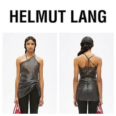 🆕HELMUT LANG Women's Pulled Tank Top SILK Onyx Black SMALL Shiny Chiffon Shirt
