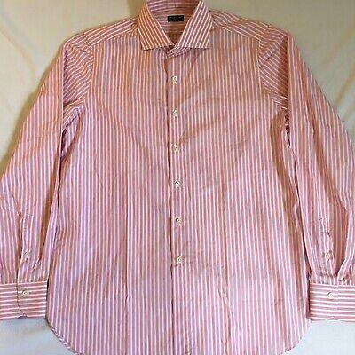 Finamore Napoli 1925 Mens Pink/Rose White Stripe L/S Cotton Shirt Size 17/43