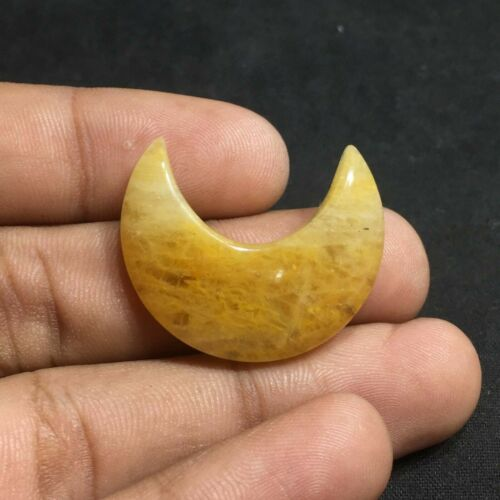 Excellent Yellow Aventurine Gemstone Cabochon Moon Shape 32 cts PU-4A