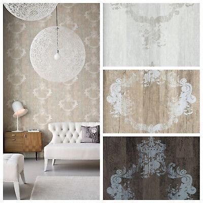 Vlies Tapete Antik  Holz Muster Ornament Barock braun grau beige Elements