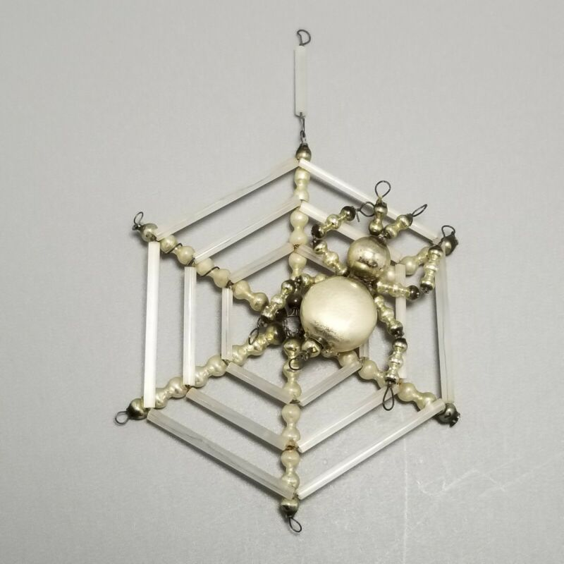 Vintage Czech / Mercury Glass Spider in Web Christmas Tree Ornament, Beaded Wire