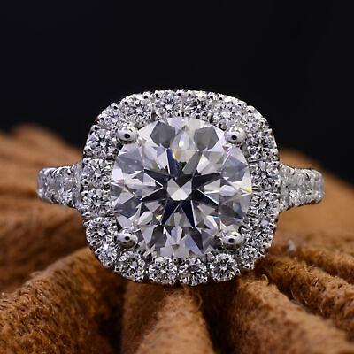 2.60 Ct Round Cut Cushion Halo Split Shank Diamond Engagement Ring I VS1 GIA 1