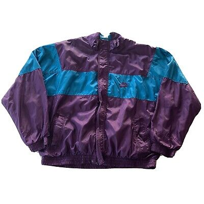 Vintage 90s Nike Windbreaker Grey Tag Size XL Zip Up Jacket Purple Blue