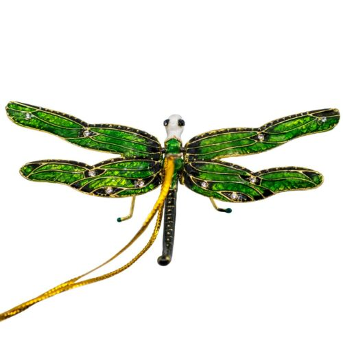 """Cloisonne Enameled Metal Articulated Dragonfly Ornament Moving Wings Green 3.5"""""""