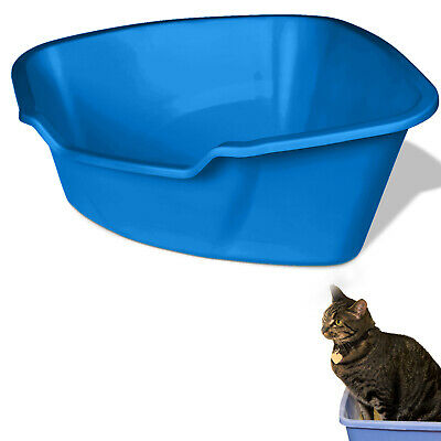 CAT LITTER BOX High Sided Kitty Pan Pet Animal Regular Size Odor Resistant Plast