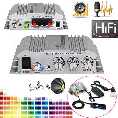 2.1CH HiFi Stereo Amplifier Audio Music Super Bass Output AMP + AC Power Adapter