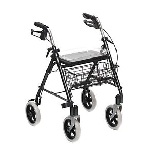 Mobility Rollator Walking Frame 4 Wheeled walker with seat basket and tray