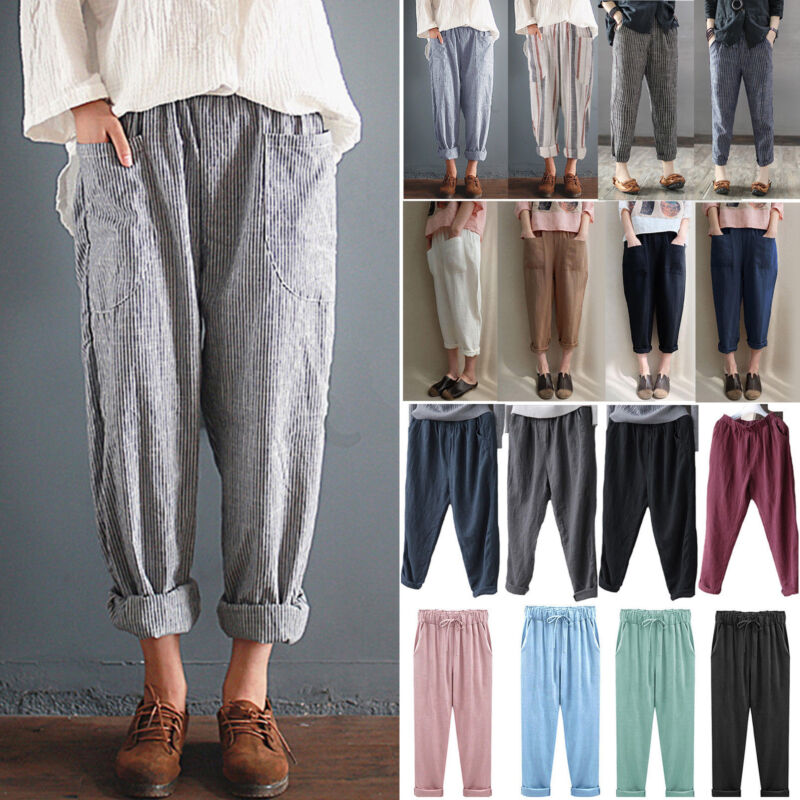 Womens Cotton Linen Elastic High Waist Baggy Harem Long Pant