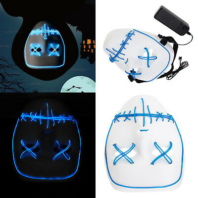 Frightening Masks (Frightening El Wire Light Up LED Mask Neon Rave Horrific Cosplay Party)