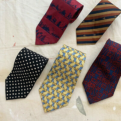 Lot of 5 Silk Designer Ties - Chanel - Hermes - VTG Gucci - Moschino - DKNY
