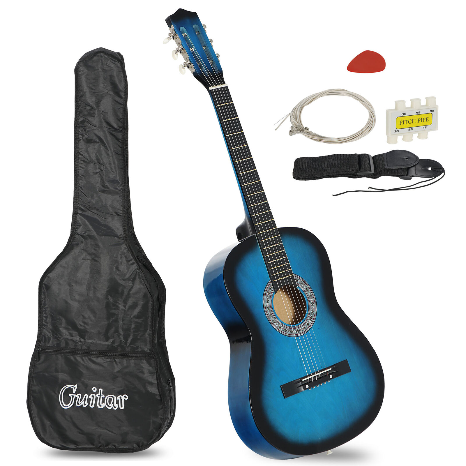 Blue Beginners Acoustic Guitar With Guitar Case Strap Tuner and Pick Acoustic Guitars