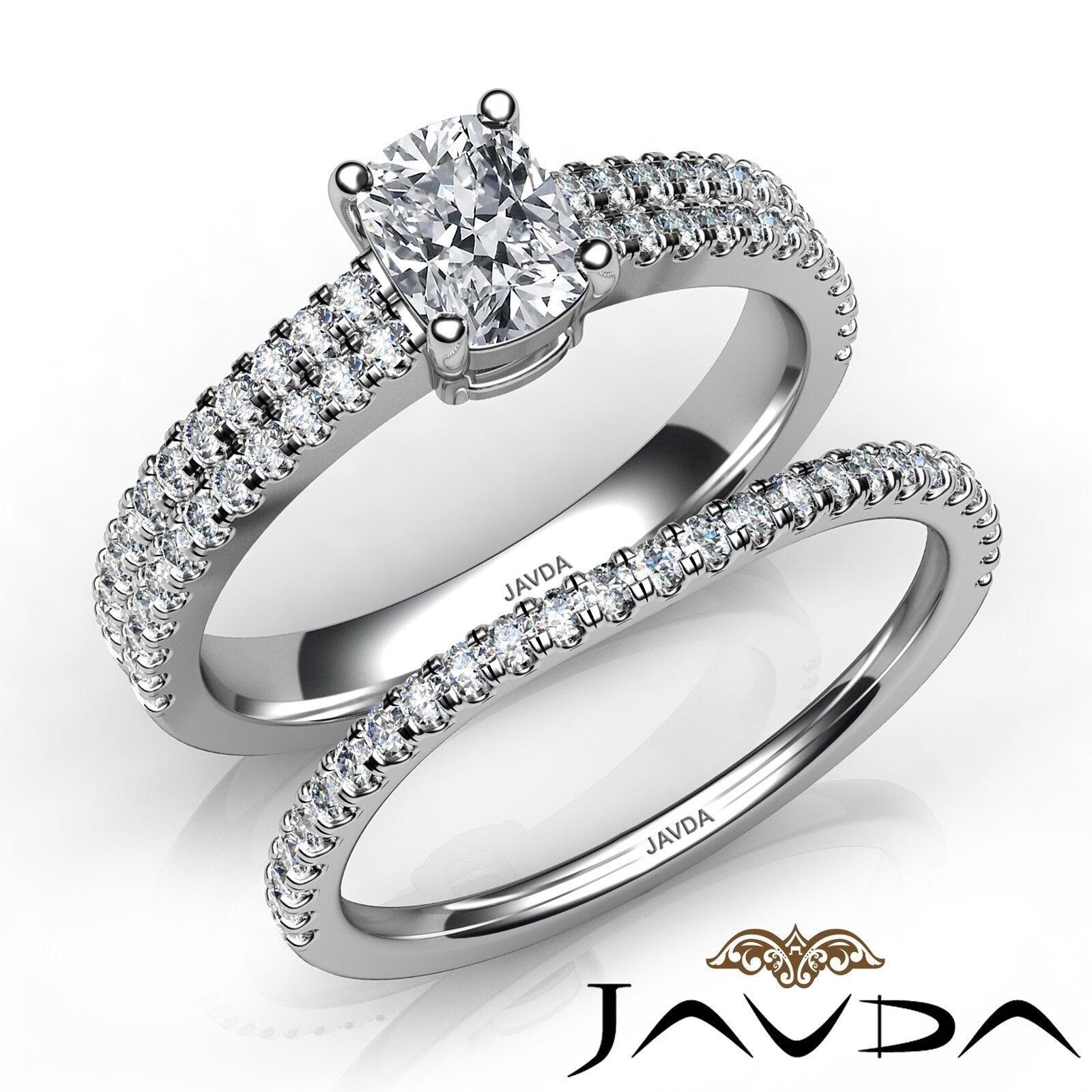 1.5ctw Bridal Scalloped Pave Cushion Diamond Engagement Ring GIA F-VVS2 W Gold