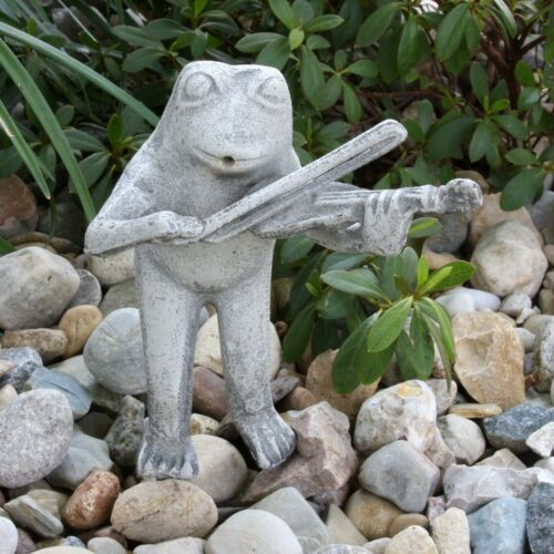 Vintage Garden Frog Statue Water Fountain Spitter Fiddle Player Coated Aluminum