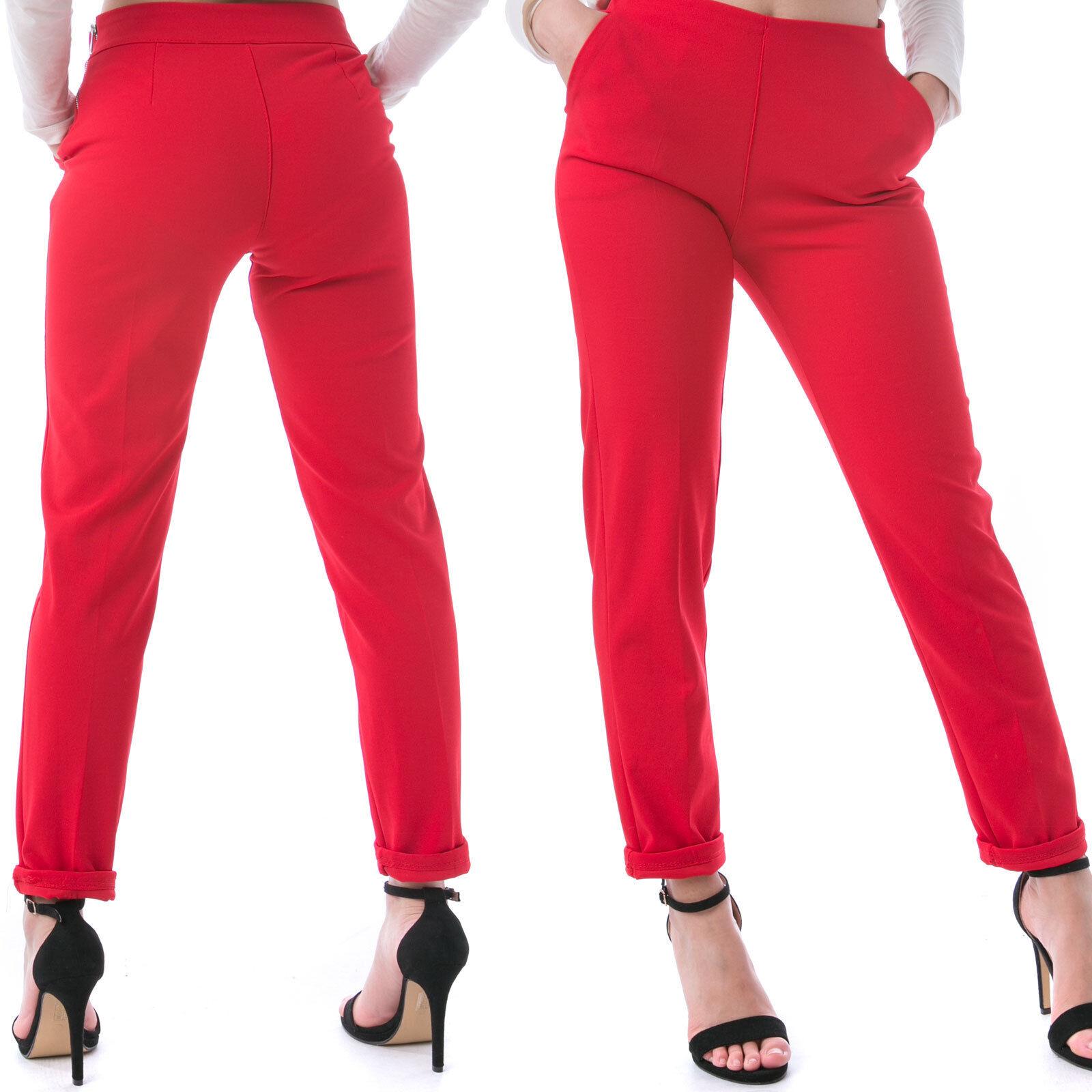 MFORSHOP pantalone pantaloni donna vita alta elegante cerniera  aderente 8520