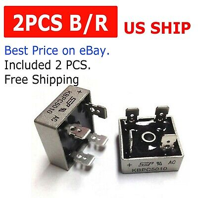 2pcs 1000v 50a Metal Case Single Phase Diode Bridge Rectifier Kbpc5010 Usa