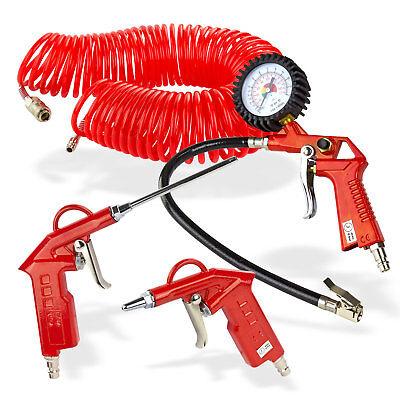 Reifenfüller Druckluft-Set, 4-teilig Spiralschlauch 15m 2 x Pistole Manometer