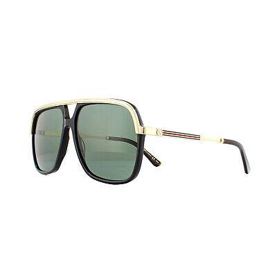 Gucci Sonnenbrille GG0200S 001 Schwarz und Gold Grün
