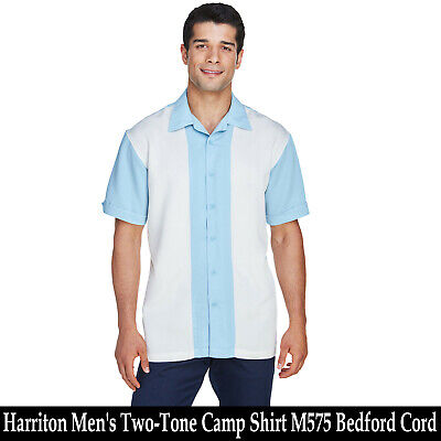 Harriton Men's Two-Tone Camp Shirt M575 66% Rayon 34% Polyester Bedford Cord Mens Cord Camp Shirt