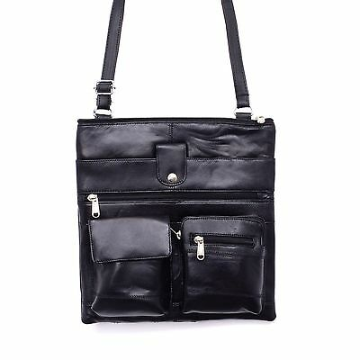 cross body bags leather genuine front pockets Top Zipper Back Zipper Spacious (Spacious Front Pocket)