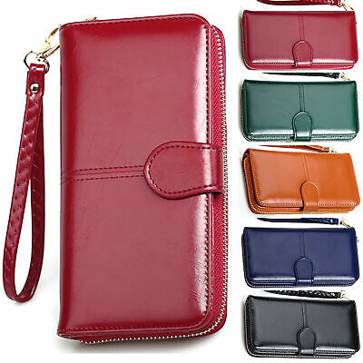 Ladies Leather Wallet Long Zip Purse Card Holder Case Phone Clutch Large Handbag