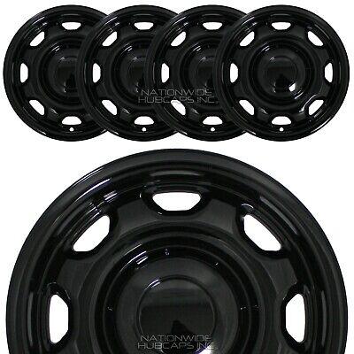 """4 Black 2010-2020 for F150 XL 17"""" Wheel Skins Hub Caps 8 Slot Steel Rim Covers"""