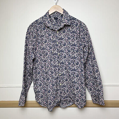 PS Paul Smith Mens Casual Fit Floral Button Up Shirt Blue Size Large