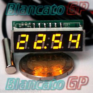 MICRO-TERMOMETRO-DIGITALE-30-70-LED-GIALLO-NTC-termistore-auto-moto-camper-kfz