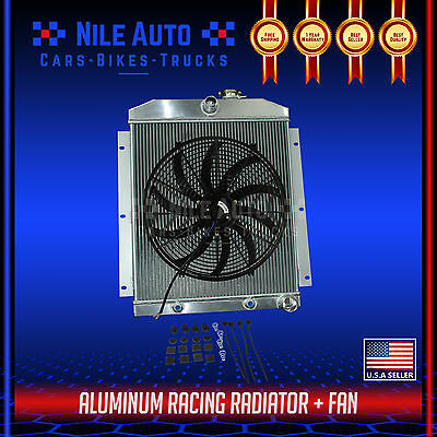 "3 ROW ALUMINUM RADIATOR FOR 47-54 CHEVY 3100/3600/3800 TRUCK PICKUP l6+16"" FAN"