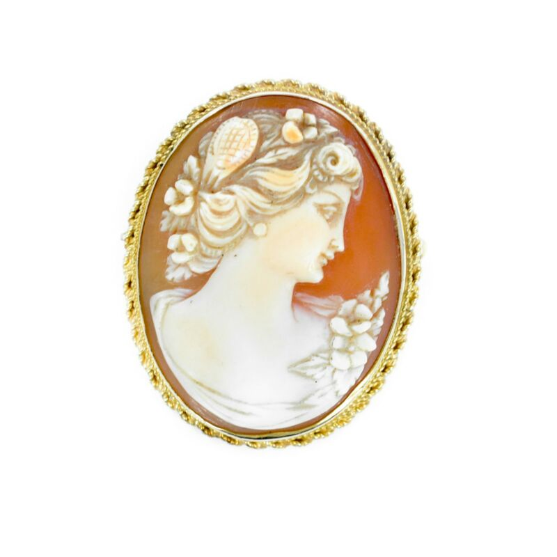 Cameo Antique Victorian Style 9.7gr 14K Gold Brooch Pendant