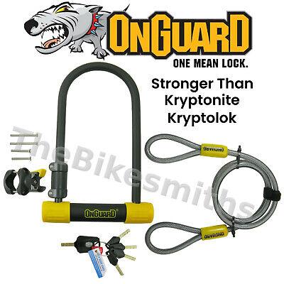 """OnGuard Bulldog DT 4.5""""x9 Bike ULock & 4' Cable fit Kryptoni"""
