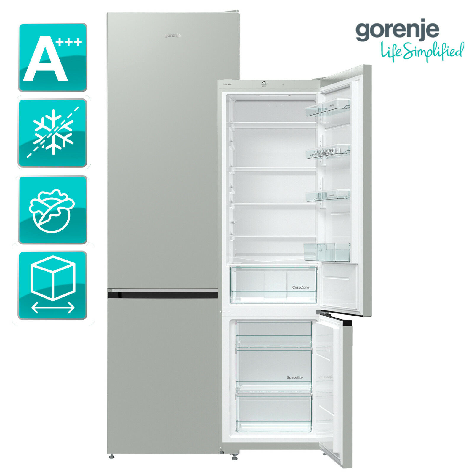 Kühlschrank Kühl-Gefrierkombination A+++ Gorenje RK623PS4 grau metallic