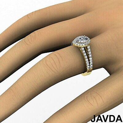 Halo French Setting Pear Diamond Engagement Split Shank Ring GIA F VS1 1.25 Ct 7