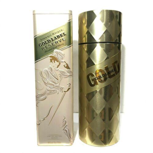 2Pcs.Johnnie Walker Gold Label&Reserve Empty Tin Box Limited Edition Design