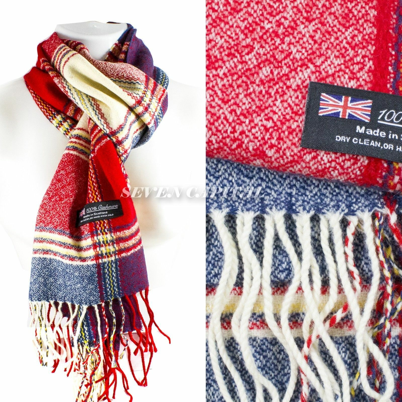 Mens Womens Winter Warm SCOTLAND Made 100% CASHMERE Scarf Scarves Plaid Wool 53. Multiple: Red/Navy