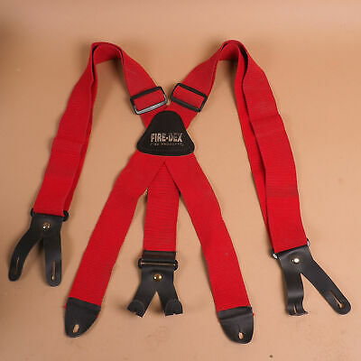 Fire-dex Firefighter Stretch Elastic Suspenders X-back W 8 Button Leather Ends A