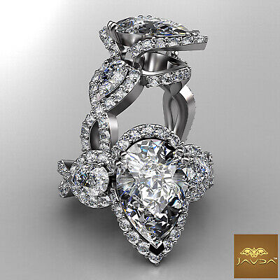3 Stone Cross Shank Halo Pear Diamond Engagement Pave Set Ring GIA H SI1 2.5Ct