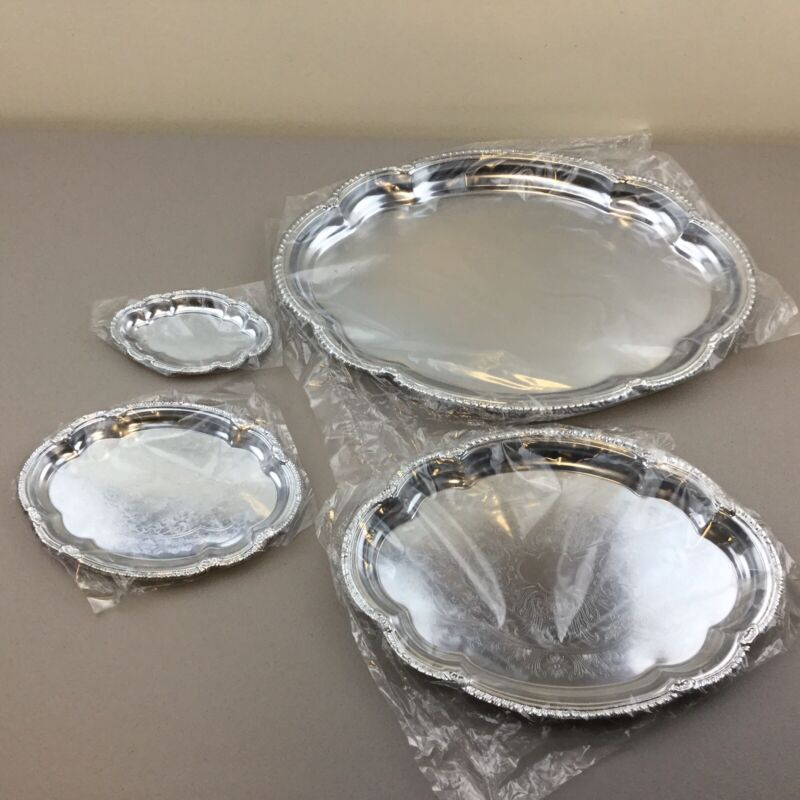 Set of 4 Vintage INTERPUR Metal Serving Tray w/Etched Design Made in Hong Kong