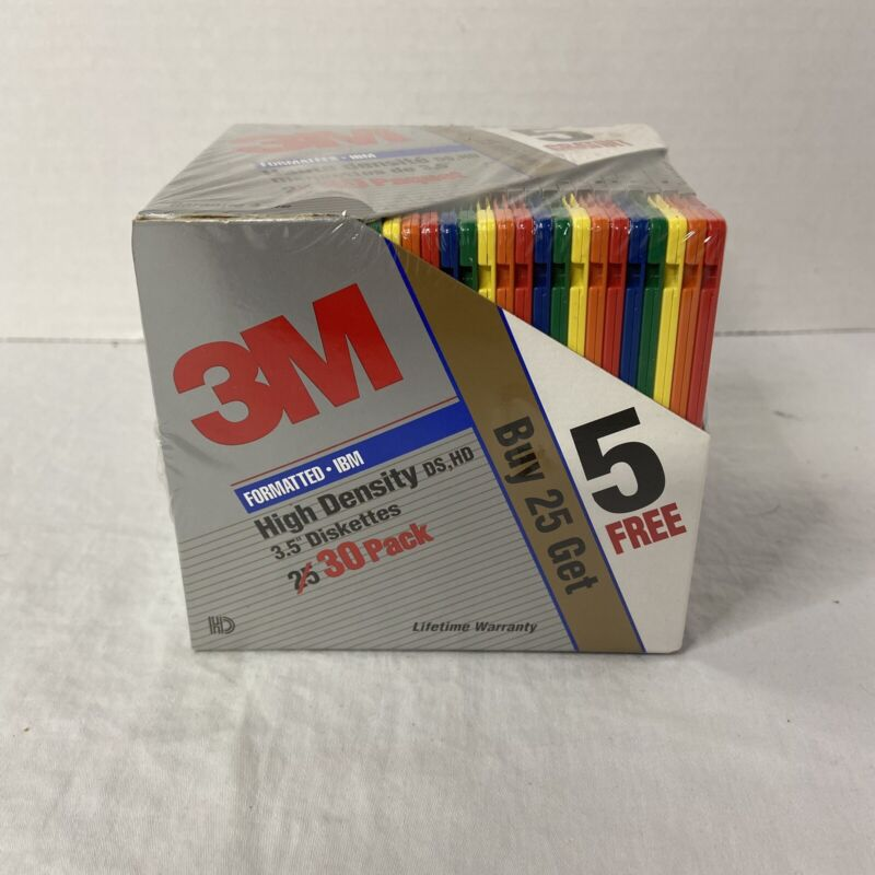 "30x 3M Factory Sealed DS HD 3.5"" High Density 1.44MB IBM Formatted Floppy Disks"