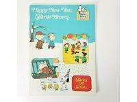 HAPPY NEW YEAR Peanuts Snoopy Charlie Brown Licensed US Genuine $2 Bill w//Folio