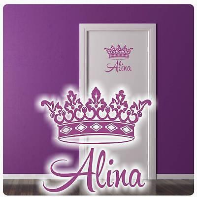 Mädchen Name Krone Tür Aufkleber Wandtattoo Türaufkleber Prinzessin Sticker T091 ()