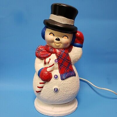 """Vintage Ceramic Snowman Waving Lights Up 12.5"""" Tall Red Scarf Candy Cane"""