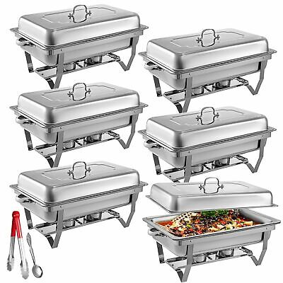 6 Pack Catering Stainless Steel Chafer Chafing Dish Sets 8qt Buffet