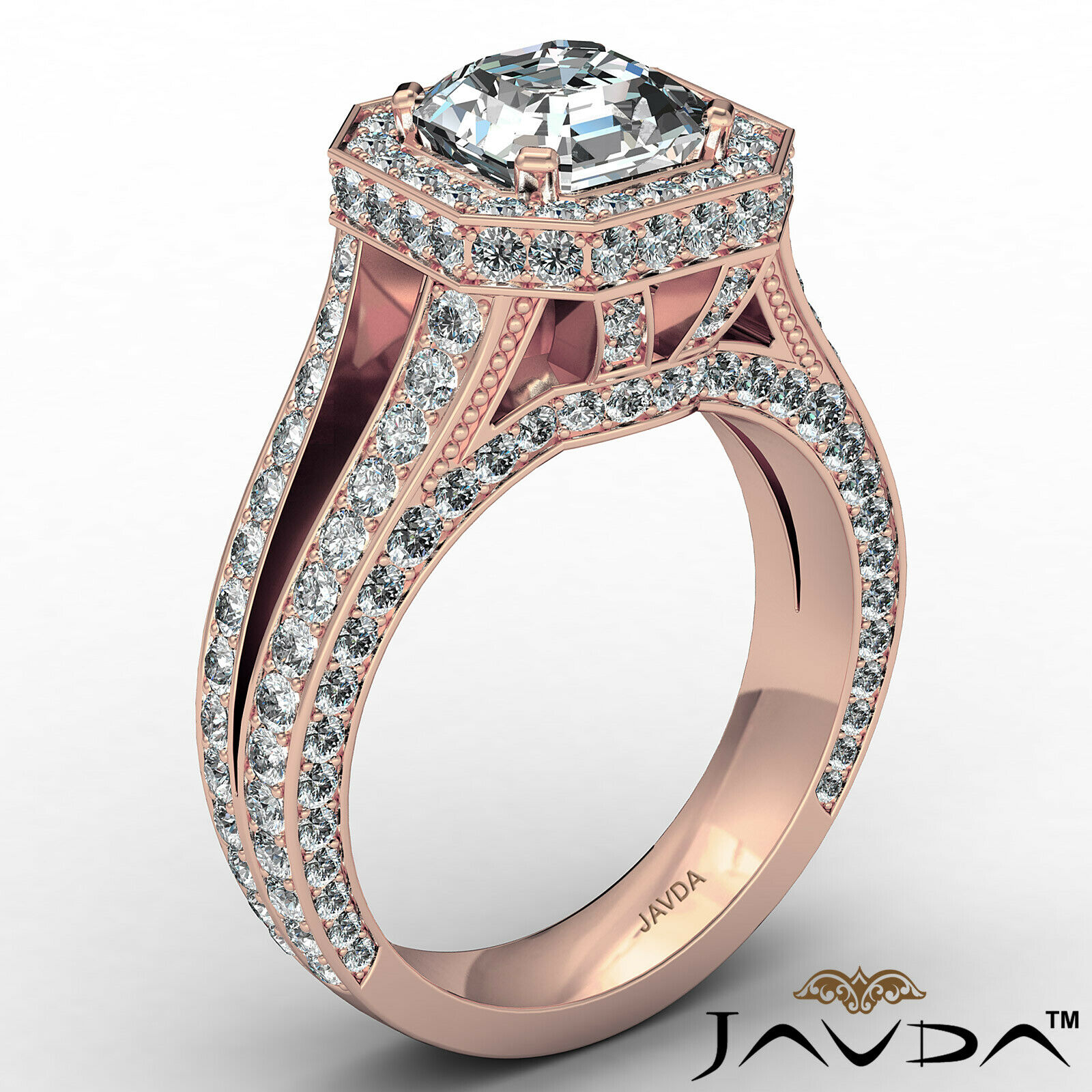 Halo Asscher Diamond Engagement Ring GIA Certified G Color & SI2 clarity 2.4 ctw 5