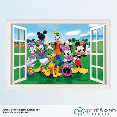 Mickey Mouse 3D Window View Decal Wall Sticker Home Decor Art Mural Kids