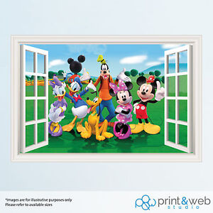mickey mouse 3d window view decal wall sticker home art fathead disney mickey mouse wall sticker