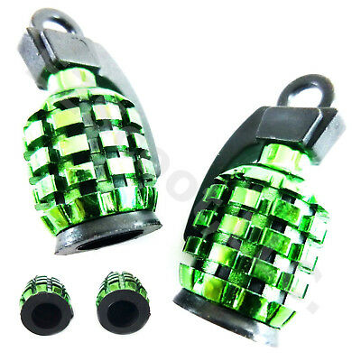 SET OF 2 TIRE VALVE CAP GRENADE GY6 SCOOTER MOPED MOTORCYCLE TAOTAO PEACE JMSTAR